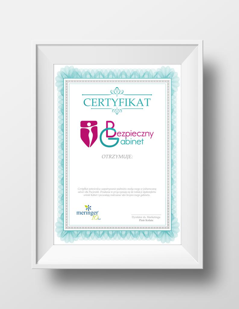 Certyfikat Bezpieczny Gabinet - uGinekologa.pl. Pierwsza wizyta u ginekologa, dziewica u ginekologa.